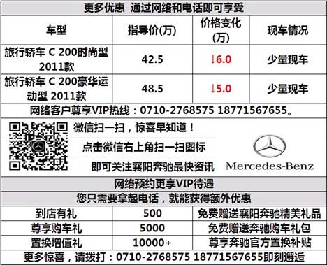奔驰C200优惠6万