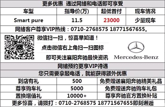 奔驰smart零利息首付2.3万