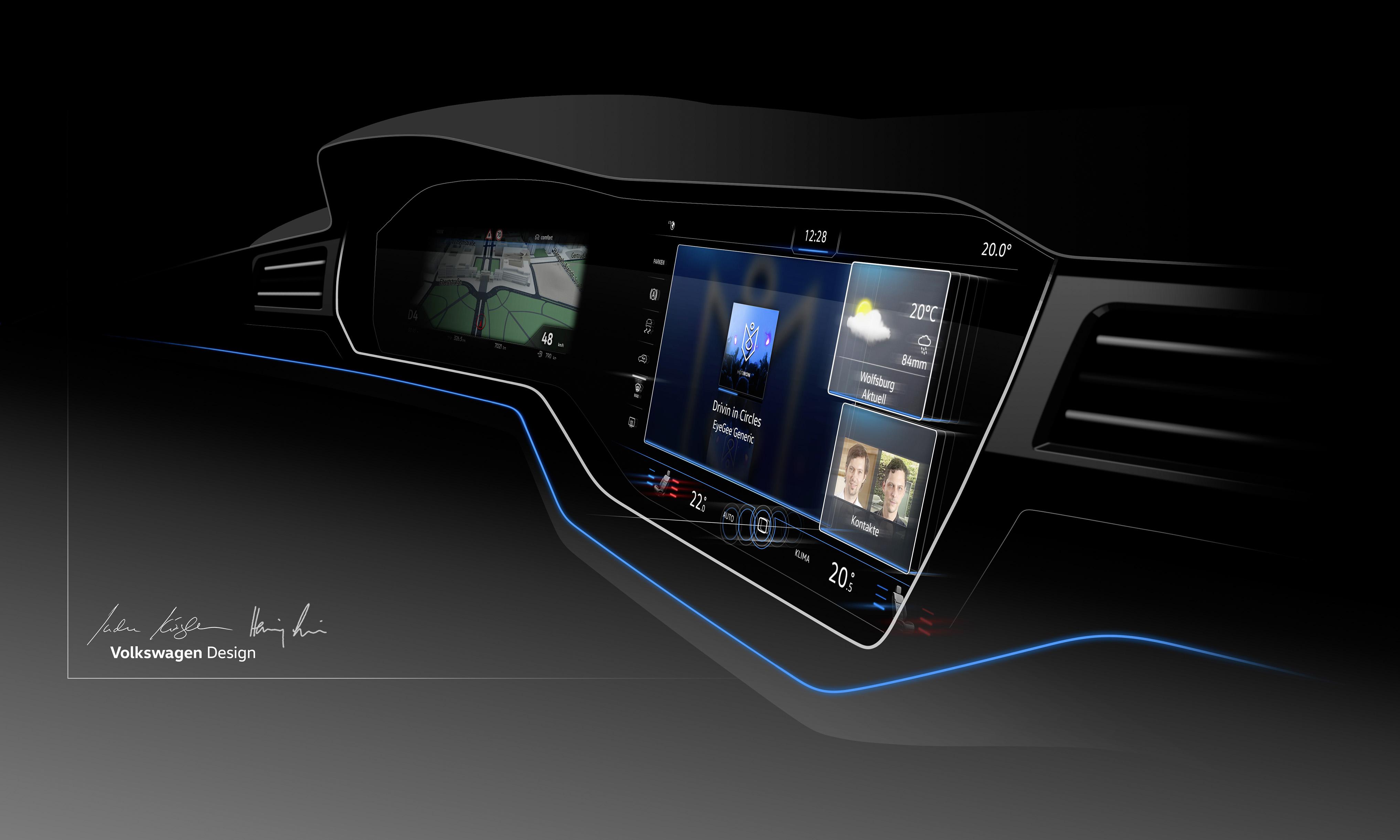 大众进口汽车全新一代途锐数字化驾驶舱Innovision Cockpit 试想,有朝一日你将驾驶一辆来自未来的汽车驰骋于征途:在驾驶舱内,智能系统的数字化大屏幕上集成了各种神秘按键,手指轻轻滑动间,整个驾驶舱就已轻松掌控;智能大灯的明亮光束探向前方,它不断扫描识别外界场景并自动调整光照亮度和照射范围,驾驶舱外景象一览无余;闪转腾挪间,红外摄像功能探测到路边的人或动物,并即刻反馈驾驶员,任何意外都被控制在发生之前;身躯庞大,却身手矫捷,四轮同时转向让速度和平稳无须作任何妥协;前方路况千变,无论崎岖还是坦途